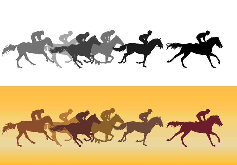 走る馬のシルエット